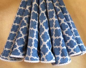 Elegant blue and silver Christmas tree skirt