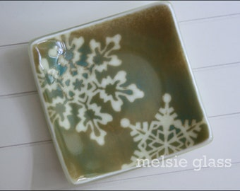 Neutral Snowflake glass anything dish - cream-colored glass with snowflake design, winter decor, woodland