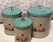 PRE SPRING SALE Vintage Aque Green Tin Container Canisters Lady Tulips Crystal Knobs 1950s