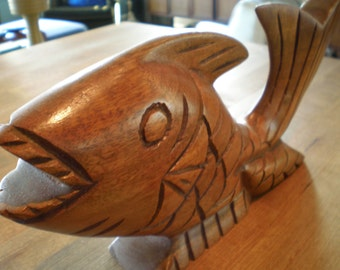 Vintage Mid Century Wood Carved Fish