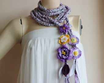 Grey Crochet Scarf-Lariat Necklace  Scarf- Purple,Lilac Scarf-Flowers and Leaves Scarf-Hippie Scarf