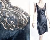 Elegant  plus size silky soft heavyweight glossy classic black Enka Comfort nylon and lace detail 80's vintage full slip petticoat - PL1170