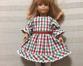 Red and Green Checked Dress for Mini AG Doll