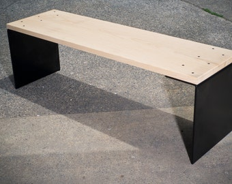 Bent Steel Leg Bench with Solid Ash Top