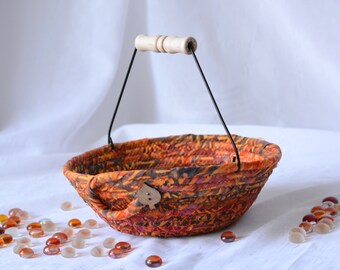 SALe.... Rustic Key Bowl, Handmade Earth Tone Basket, Gift Basket, Mosaic Batik Napkin Holder, Bread Basket, Kitchen Decoration