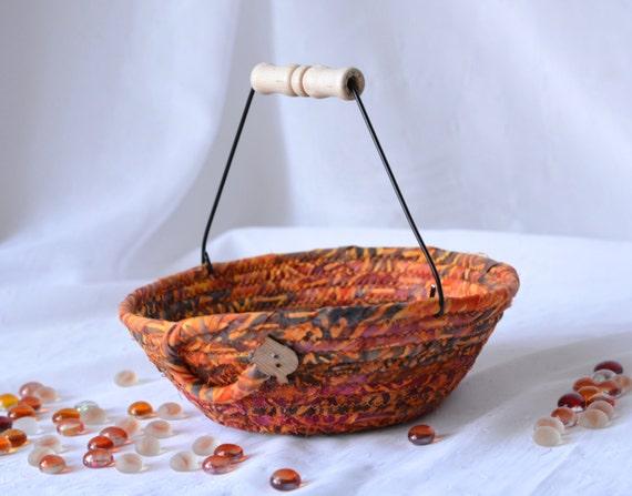 Rustic Key Bowl, Handmade Earth Tone Basket, Fall Gift Basket, Autumn Mosaic Batik Napkin Holder, Bread Basket, Kitchen Decoration