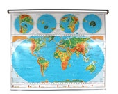 Pull Down Map with Two Maps - World Map - United States Map - School House - Works Perfectly!