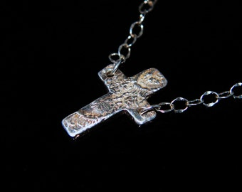 Fine Silver Textured Cross Anklet
