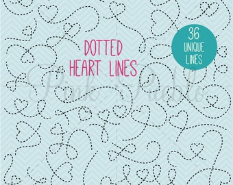 Dotted Arrow Clipart, Dotted Arrow Clip Art, Dotted Lines with Hearts - Commercial and Personal Use