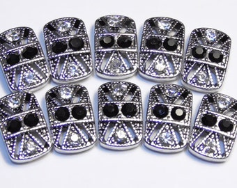 Ten 2 Hole Slider Beads Or Spacer Beads Ornate Antiqued Silver Tone Jet & Clear Crystal Studded