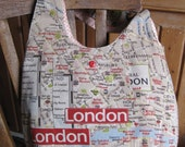 Retro London map bag  - vintage fabric,  proceeds to charity