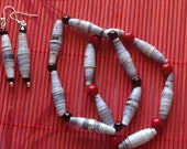 grey and red, bracelets and earrings set, proceeds to charity, recycled, upcycled,