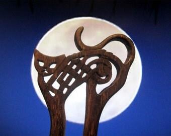 Huge Hair Stick -   Celtic Black Cat Hair Fork in Ebonized Oak