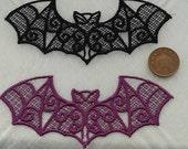Custom listing: 10 x LARGE gothic lace bat applique, various colours, UK