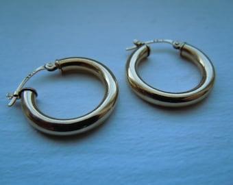 SALE Vintage 14K Yellow Gold Hoop Earrings, Medium Size