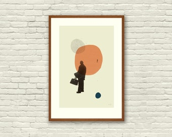 LOVE in THE ABSTRACT - Eternal Sunshine of The Spotless Mind Inspired Poster - 12 x 18 Mid Century Modern, cut paper collage, shapes