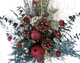 Dried Flower Bouquet Floral Arrangement Christmas Winter Holiday PIne Cones Juniper Yarrow Pomegranates Free Lavender Sachet