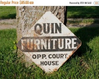 SHOP SALE Vintage Metal Advertising Two Sided Sign for Quin Furniture