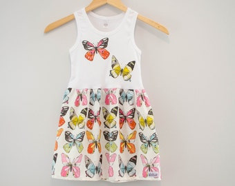 Sz 4 4T Girls Tank Top Dress Applique Butterfly Butterflies Spring Tshirt Dress White Pink Blue Butterfly Birthday 4th Outfit Ready to Ship