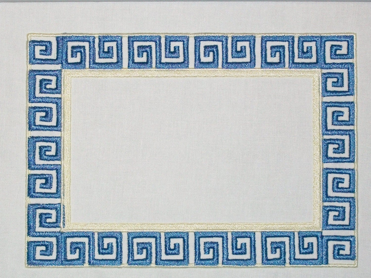 Greek Key Embroidered Quilt Label To Customize With Your