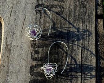 SILVER AMETHYST Scribble Earrings, knot, wirework, Scribble ball, long, dangle, wire wrapped, gift, delicate, elegant, formal, 925