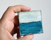 "Abstract Mini Painting: Miniature 2x2"" Original Art, Mini painting, Mixed media Landscape, Art Contemporary Art, Cerulean Blue, Horizon IV"