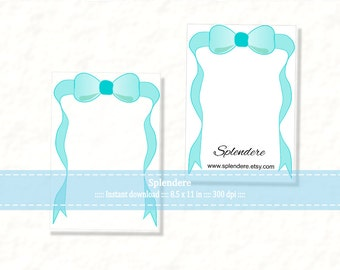 Download Jewelry Card Template, DIY Jewelry Cards, Earrings Necklace display card, Digital bow ribbon design