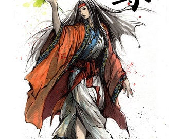8x10 PRINT HIMIKO with Japanese Calligraphy Noble Sacred Sumie and watercolor
