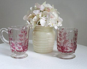 Vintage Milk Glass Beehive Jar and Ruby Flash Cream and Sugar, Shabby Cottage Table Settings, Vintage Glass Vase, Decorative Glass