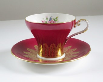 Vintage Tea Cup and Saucer, Vintage Red Aynsley Cup and Saucer, Vintage Teacup and Saucer Set Crimson Red w Pink Roses  SwirlingO11
