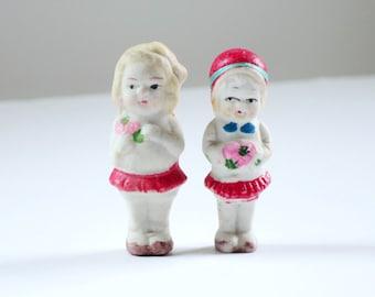 Vintage Porcelain Frozen Charlotte Charlie Dolls, Vintage Mini Japan Bisque Dolls, Miniature Bisque Cutie Matchbox Dolls Diorama Dollhouse