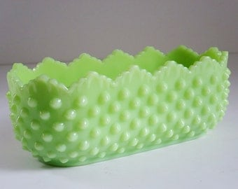 Fenton Jadite Green Hobnail Planter, Vintage Mint Green Glass Oblong Planter, Jadeite Jadite Green Glass Planter, SwirlingOrange11