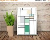 GEEKLOVE SALE Good News, It's a De Stijl Minimalist Inspired Cartoon Character Print // Color Blocks, Geometry, and Thin Line Grid Design