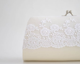 IVORY Lace clutch, Bridal clutch, Bridesmaids clutch, wedding clutch