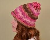 KNIT HAT- Chocolate and Strawberry Stripes- acrylic yarn