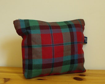 Cassie Cosmetics Pouch or Purse in Red, Blue and Green Tartan Ready to Ship