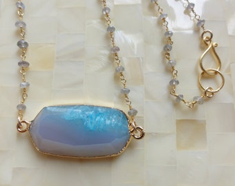 Gold Edge Blue Agate Druzy Faceted Connector on Faceted Labradorite Rondelle Vermeil Wire Wrapped Chain Necklace (N1672)