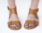 Handmade Leather Sandals - Sandal X in light Tobacco Brown - Zero drop & CUSTOM FIT