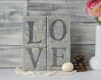 LOVE Blocks, Romantic Decor, Unique gift, Word Art, wedding decor, Gray, earth tones