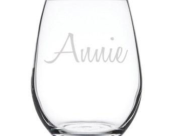 Personalized Stemless White Wine Glass-17 oz.-7882 Name in Script
