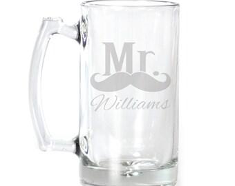 Personalized Large Beer Mug - 25 oz. - 8553 Mr. Moustache Personalized