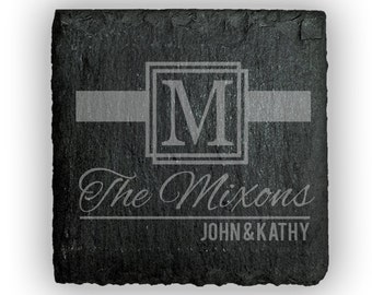 Personalized Coasters Slate Square Set of 4 - 2428 Ribbon Monogram Personalized with Family names