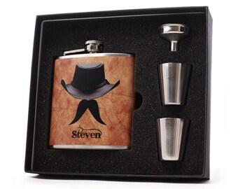 Personalized Flask // Cowboy Mustache Man Hip Flask