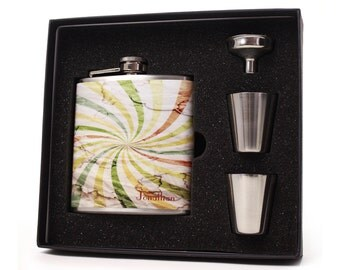 Personalized watercolor flask gift set with shot cups, funnel and gift box