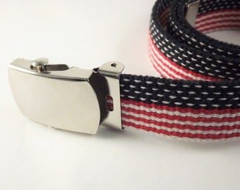 Red White and Blue Belt, Womens Patriotic Belt, USA Flag Belt, Narrow Canvas Red Striped Belt, Silver Buckle Belt, Medium Size Belt