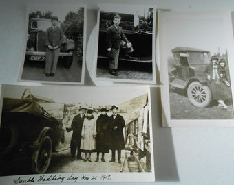 black white photographs cars Model A, T 1917