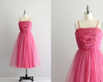 1950s 50s Party Dress . Retro Prom Dress . 1960s Pink Tulle Dress