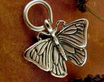 Sterling Silver Butterfly Charm or Pendant - Beautiful Blue Morpho -  C146