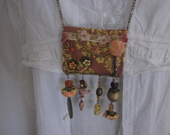 Fabric Necklace in Brown and Orange, Upcycled Fabric, Fabric Jewelry, Textile Pendant Necklace, OOAK