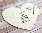 50 pc Wedding Guest Book Puzzle, guestbook alternative, wood HEART puzzle guest book Bella Puzzles™ rustic wedding, minimalist modern